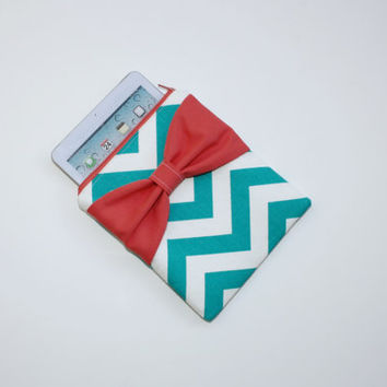 iPad Mini - Kindle - Nook - eReader Case - Turquoise Chevron Coral Bow - Padded - Sized to Fit Any Brand eReader