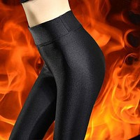 Autumn Winter Gloss Bound Feet Aerobics Pants Tight Trousers Show Thin Foot Will Yards Clothes Nine Part Hit Underpant
