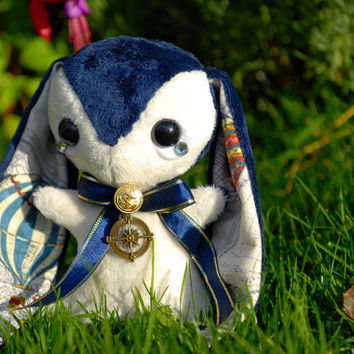 Blue Rabbit Plushie - Cute Explorer Bunny Plush - Vintage Steampunk Inspired - Hot Air Balloons and Compass