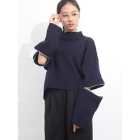 Open Elbow L/S Cropped Knit Jumper