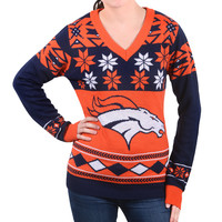 "Denver Broncos Women's Official NFL ""Big Logo"" V-Neck Sweater by Klew"