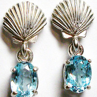 "Blue topaz shell stud earrings, shell dangle earrings  ""She Sells Sea Shells"""""