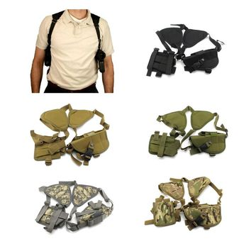 Tactical Left Right Hand Gun Pistol Holster Pouch Bag Double Shoulder Mag Pouch Airsoft Hunting