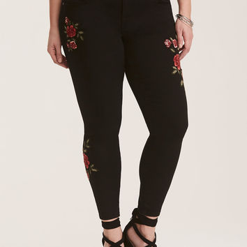 Jeggings - Floral Embroidered Black Wash