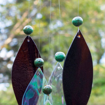 Wind chime,#Etsygifts stained glass wind chime, glass wind chime, garden art, earthtone chime, leaf wind chime