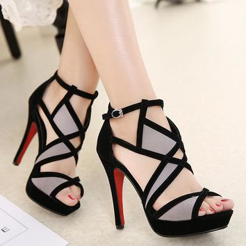 Suede & leather high-heeled cross strap peep toed pumps