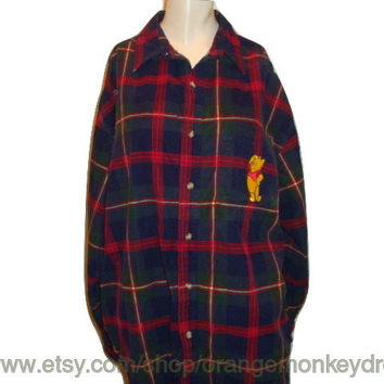 vintage 90's Disney POOH blue RED buffalo PLAID top button up checkered grunge hipster corduroy oxford women Blouse shirt l