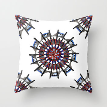 Greek Mandala - hand drawn Throw Pillow by Heaven7
