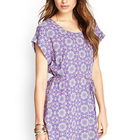 LOVE 21 Medallion Print Ladder-Back Dress Purple/Pink