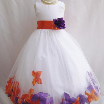 CUSTOM COLOR   Flower Girl Rose Petal Dress WHITE or Ivory Wedding Church Easter Red Green Blck Purple