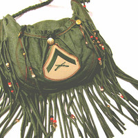 Army Green Military Fringed Shoulder Bag by organicallysewn