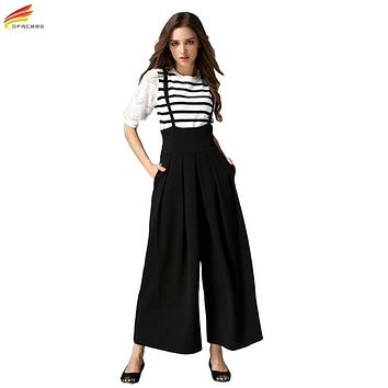 Women Wide Leg Pants With Strap 2017 Summer Ankle-Length Loose Pants Female Euro Style High Waist Ladies Pant Pantalones Mujer