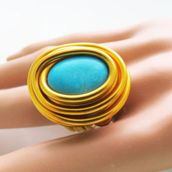 Gold Wrap Ring, Turquoise and Gold Ring, Boho Wrap Ring, December Birthstone, Womans Wrap Ring, Gold Wrap Turquoise Ring, Wrap Stone Ring,
