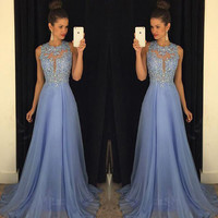 Royal Blue Prom Dress 2016 Best Selling O Neck Sleeveless A Line with Appliques Beaded Chiffon Customize Party Dresses