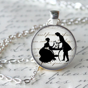 JANE AUSTEN Pendant Necklace - Pride and Prejudice - Glass Pendant Jewerly Handmade Necklace Romantic Gift