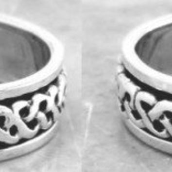 Set of 2 Matching Handcast 925 Sterling Silver Irish Celtic LOVE Knot HEART Wedding Promise Spin Spinner Bands Rings | museumreplicajewelry - Jewelry on ArtFire