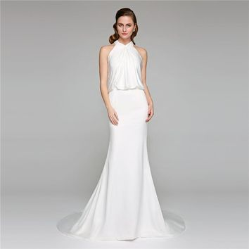 Mermaid / Trumpet High Neck Court Train Wedding Dress Charmeuse Bridal Gown with Criss-Cross