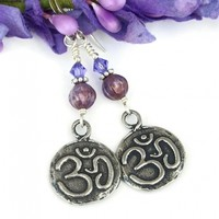 Om Aum Lotus Yoga Earrings, Pewter Purple Meaningful Handmade Jewelry