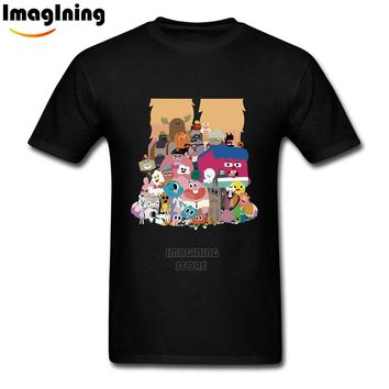 Funny Cartoon The Amazing World of Gumball T Shirts Slim And Fit MEIL Tees Short Sleeve For Man Boys 3XL T-Shirts