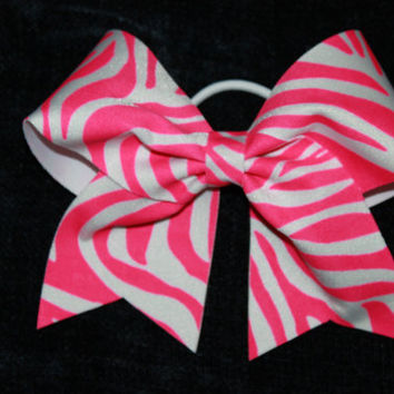 Neon pink and white zebra print cheer bow