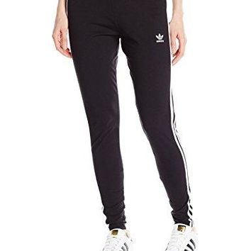 new arrival c2303 53f99 adidas Originals Women s 3-Stripes Leggings, Small, Black Trefoil Stripe
