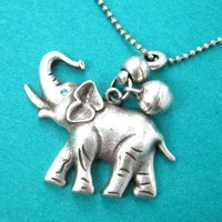 Baby Elephant Animal Pendant Necklace in Silver with Bell Charm