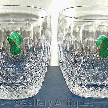 Pair of Waterford Crystal Colleen Pattern Crystal Cut Glass 9oz Old Fashioned Whisky Tumblers Signed and in Original Box (b) (ref: 3178)