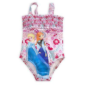 Licensed cool Disney Store FROZEN ELSA ANNA Flowers Swimsuit 1 Piece Bathing Suit for Girls 2