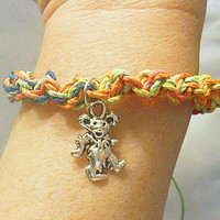 Rainbow Grateful Dead Dancing Bear Hemp Bracelet jewelry hippie handmade
