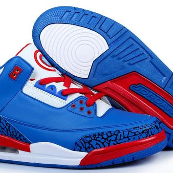 [Free Shipping ]Air Jordan 3 Captain America Basketball Sneaker