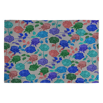 Bianca Green Roses Blue Woven Rug