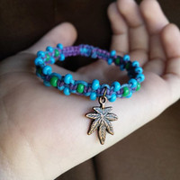 Marijuana Hemp Jewelry Legalize Bracelet Beaded Hemp Natural Jewelry Stoner Bracelet Pot Leaf Jewelry