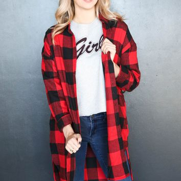 Bonfire Romance Plaid Duster