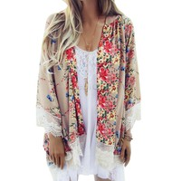 Women's Floral Patterned Kimono Cardigan  Top With Batwing Sleeves And Tassels