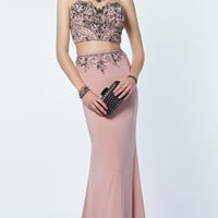 Jersey Alyce Sheer Back Long Prom Dress