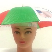 USA FLAG Umbrella Hat Hands Free Elastic Headband Polyester Shell>RED,WHITE ,BLUE,GREEN