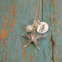 Beachy Solid Sterling Silver Starfish, Pearl, and Initial Letter Custom Made Hand Stamped Personalized Dainty Name Necklace (Star Fish)