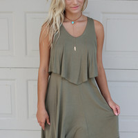 Los Cabos Olive Sleeveless Layered Dress With Tie Back