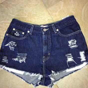 Womens Tommy Hilfiger Vintage high waisted Custom Distressed  Denim Jean Shorts Sz 6