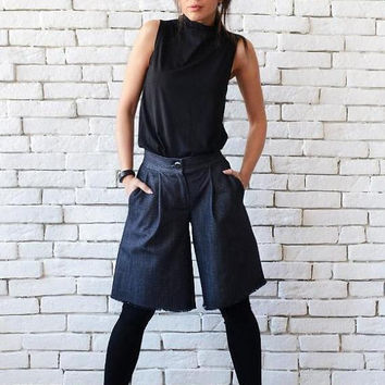 SALE NEW Denim Loose Pants/Wide Leg Shorts/Casual Blue Pants/Short Everyday Trousers/Denim Maxi Pants/Plus Size Denim Shorts/Oversize Short