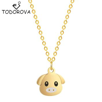 Todorova Cute Little Pig Necklace Silver Gold Color Stainless Steel Pendant Animal Jewelry for Men Women Gift 2017 New Chain