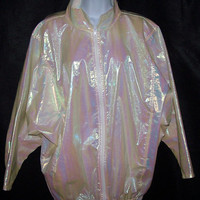 WET SHINY pearlescent jacket coat windbreaker Sea Punk yellow luminescent men's women's teen's unisex oversized slouchy