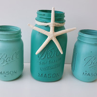 Decorative Mason Jars - Set of Three - Turquoise Mason Jars with Starfish - Beach Themed Decor