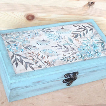 Tea box Mint green wooden box Tea bag storage Hand painted jewelry box Sewing box 6 compartments Made to order