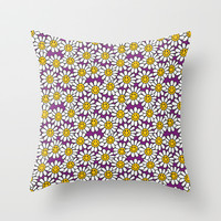 Purple Smiley Daisy Flower Pattern Throw Pillow by Hippy Gift Shop