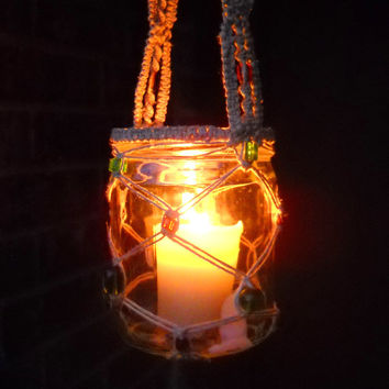 Spring SALE - beaded macrame jar lantern - with glowing amber and green glass beads, natural hemp