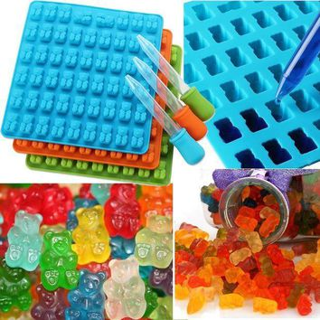 ICIKU7Q 53 Cavity Silicone Gummy Bear Chocolate Mold Candy Maker Ice Tray Moulds