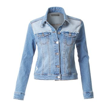 LE3NO Womens Vintage Distressed Ripped Long Sleeve Denim Jacket