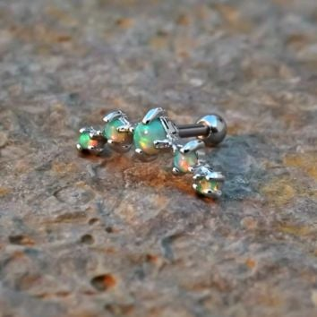 Light Green Fire Opals Stud Cartilage Earring 5 Fire Opals Piercing16g  Upper Ear Jewelry