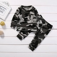 Toddler Newborn Baby Boy Girl Clothes Set T-shirt Long Pants Camouflage Costumes Little girl boy clothing Winter baby clothing
